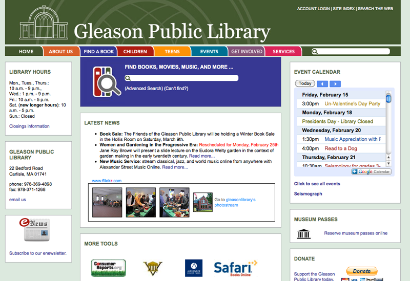 Live site: <a href='http://www.gleasonlibrary.org/' target='_blank'>The Gleason Public Library</a>