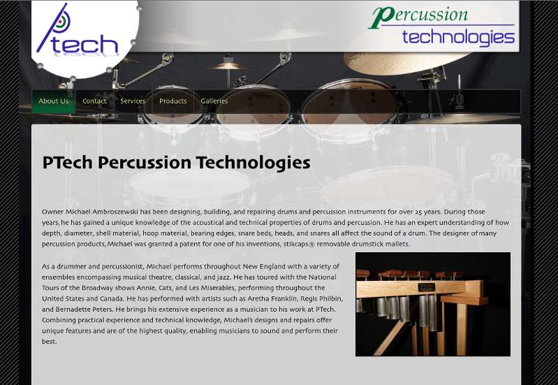 Live site: <a href='http://silveroakdesign.com/ptech-wp/' target='_blank'>pTech Percussion Technologies</a>