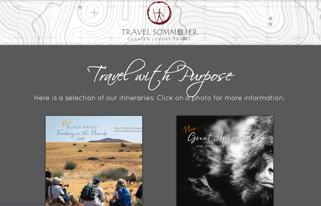 Live site: <a href='http://www.travelsommelier.com/travel-with-purpose' target='_blank'>Travel with Purpose</a>